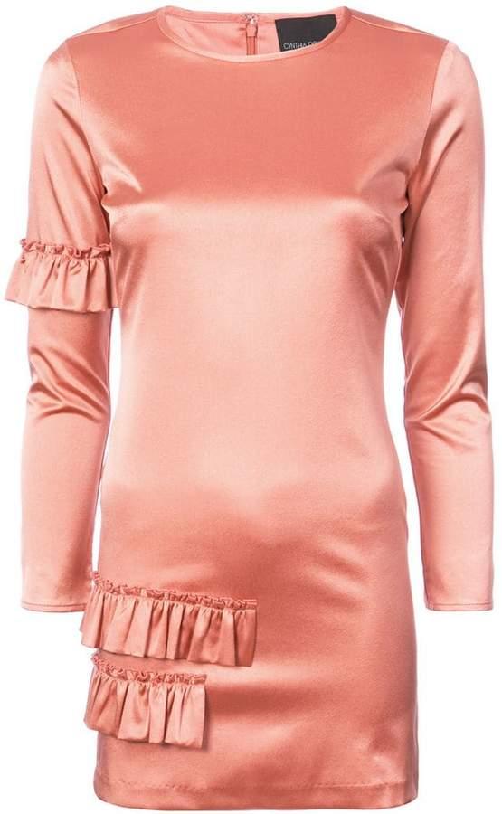Cynthia Rowley Aeris satin ruffle mini dress