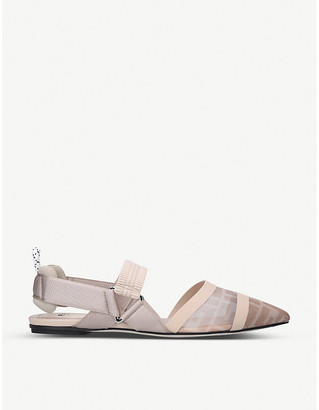 Fendi Calibri FF logo-print mesh and leather flats
