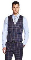 Men's Windowpane Suit Vest Navy-WD·NY Black