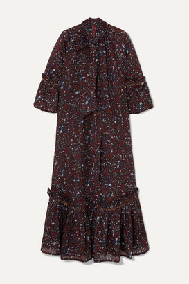 Yvonne S Angelica Ruffled Tiered Printed Cotton-voile Maxi Dress - Burgundy