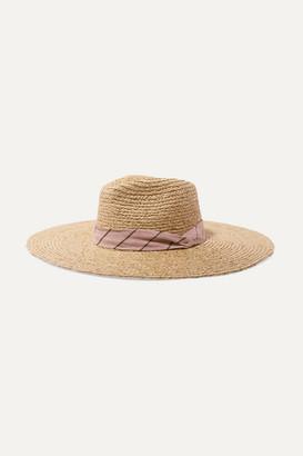 Rag & Bone Linen-blend Trimmed Raffia Panama Hat