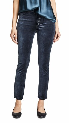 Paige Women's Hoxton Velvet Ankle Peg Jean with Exposed Buttons