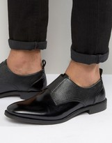 Asos Fomal Shoes In Black Leather With Black Elastic