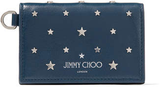 Jimmy Choo CLIFFY Indigo Leather Card Holder with Silver Flat Star Stud Design