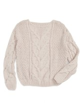 Girl's Woven Heart Cable Knit Sweater