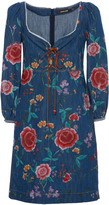 Roberto Cavalli Embroidered Denim Dress