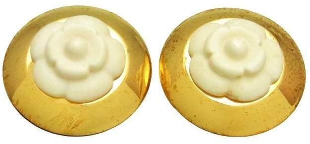 Chanel CC Logo Gold Tone Metal White Camellia Round Earrings
