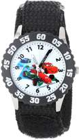 Disney Kids' W001033 Cars Stainless Steel Black Bezel Black Nylon Strap Watch