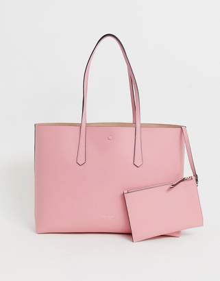 Kate Spade pink leather tote bag with removable purse