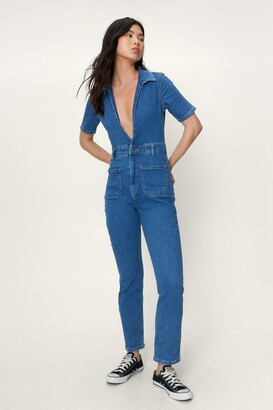 Nasty Gal Womens Wash that Tone Plunging Denim Boilersuit - Blue - 6, Blue