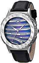 "Brillier Unisex 12-01 ""Kalypso"" Diamond-Accented Stainless Steel Watch with Black Leather Strap"