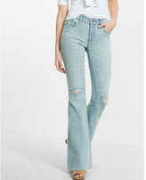Express distressed light blue bell flare jean