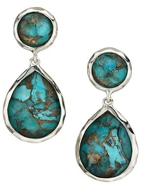 Ippolita Rock Candy Sterling Silver & Bronzed Turquoise Double-Drop Earrings
