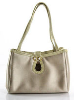 Gianni Versace Beige Satin Gold Tone Jeweled Detail Evening Tote Handbag