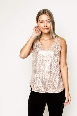 Gibson Look Double V-Neck Sequin Tank