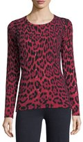 Neiman Marcus Leopard-Print Cashmere Crewneck Pullover