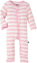 Kickee Pants Print Ruffle Coveralls (Baby) - Lotus Stripe - 0-3 Months