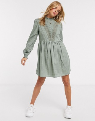 Asos DESIGN high neck mini smock dress with lace inserts in khaki