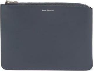 Acne Studios Malachite Logo-print Leather Pouch - Blue