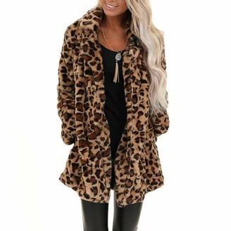 YEBIRAL Women Outwear Winter Long Sleeve Warm Parka Overcoat Leopard Faux Fur Pocket Fuzzy Oversized Long Coat Brown