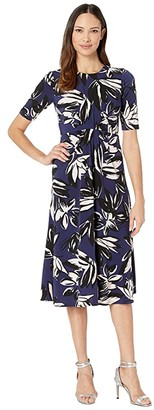 Vince Camuto Printed Ity Midi Dress w/ Front Draping (Navy Multi) Women's Dress