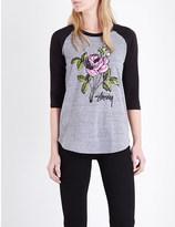 Stussy Rose-print raglan jersey top
