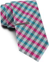 Jf J.Ferrar JF Blurred Gingham Tie and Tie Bar Set - Slim