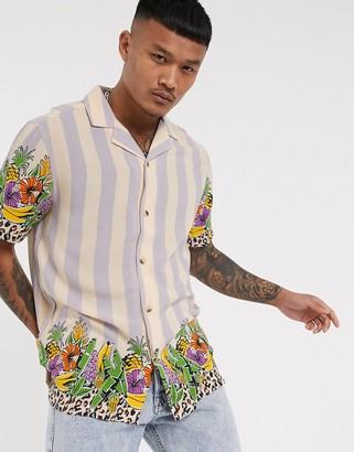 ASOS DESIGN Co-ord regular revere stripe shirt in fruit border print