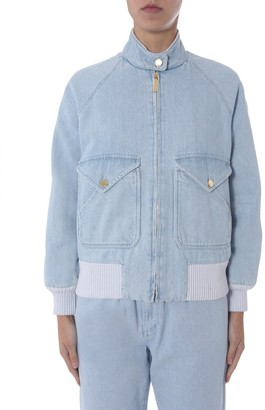 Alberta Ferretti Zip Up Denim Jacket