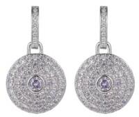 A&M A & M Silver-Tone Lavender Disk Earrings