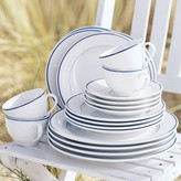 Apilco Tradition Blue-Banded Porcelain Cups & Saucers, Set of 4