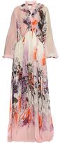 Roberto Cavalli Kimono Floral-print silk-georgette gown