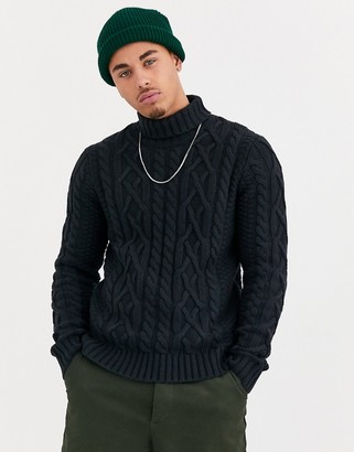ONLY & SONS knitted cable roll neck sweater in navy