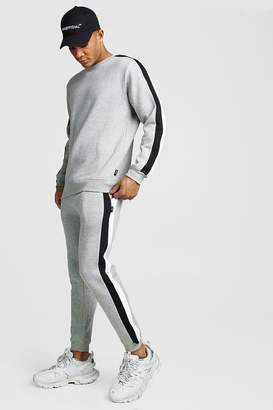 BoohoomanBoohooMAN Mens Grey jumper Tracksuit With Side Panels, Grey