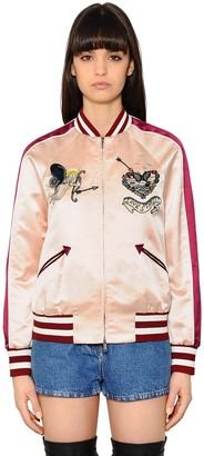 Valentino Embroidered Silk Satin Bomber Jacket