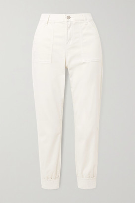 J Brand Arkin Cotton-blend Sateen Track Pants - White