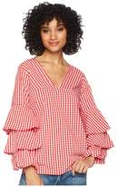 Kensie Gingham Check Top KS4K4674 Women's Clothing