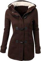URqueen Women's Hooded Horn Button Wool Pea Coat Jacket M