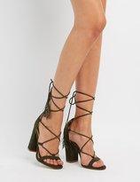 Charlotte Russe Tassel-Tie Lace-Up Sandals