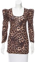 Torn By Ronny Kobo Leopard Print Knit Top