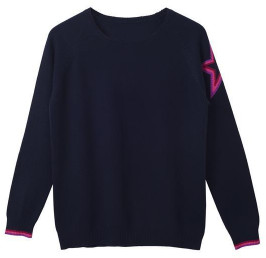 cove cashmere - Connie Navy Cashmere Star Sweater - S/M