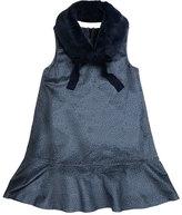 Imoga Penelope Velour Drop-Waist Faux-Fur Collar Dress, Blue, Size 8-14