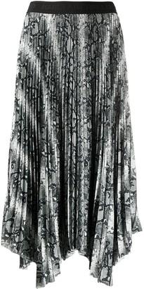 Karl Lagerfeld Paris Pleated Snakeskin-Print Midi Skirt