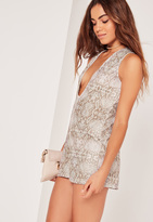Missguided Snake Printed Plunge Playsuit Camel