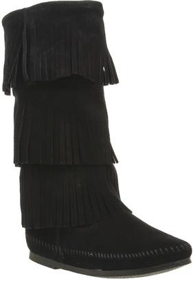 Minnetonka Calf Hi 3 Layer Fringe Boots Black Suede