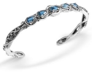 Carolyn Pollack Blue Topaz (1-3/4 ct. t.w.) Five Stone Cuff Bracelet in Sterling Silver