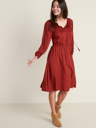Old Navy Waist-Defined Tassel-Tie Boho Midi Dress for Women