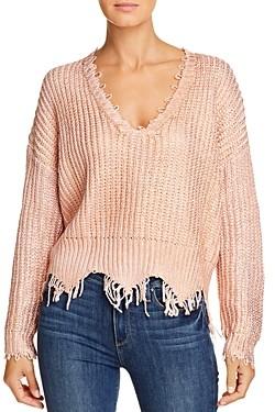 Elan International Frayed-Edge V-Neck Sweater