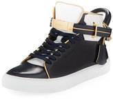 Buscemi 100mm Leather High-Top Sneaker, Dish Blue Ink/White