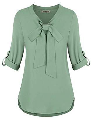 Moyabo Womens 3/4 Cuffed Sleeve Bow Tie V Neck Casual Chiffon Blouse for Work Business Shirt Tops